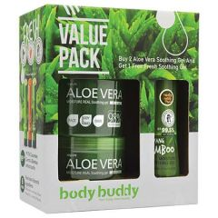 BODY BUDDY ALOE VERA SOOTHING GEL 500ML X 2 + FRESH SOOTHING GEL 250ML