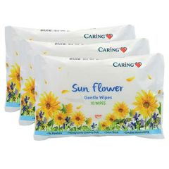 CARING GENTLE WIPES SUNFLOWER 10S X 3