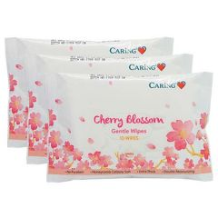 CARING GENTLE WIPES CHERRY BLOSSOM 10S X 3