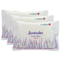 CARING GENTLE WIPES LAVENDER 10S X 3