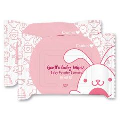 CARING GENTLE BABY WIPES BABY POWDER SCENTED 30S X 2