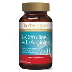 HERBS OF GOLD L-CITRULLINE + L-ARGININE VEGETABLE CAPSULE 60S