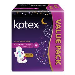 KOTEX TOTAL PROTECTION PAD OVERNIGHT WING PROACTIVE GUARDS 32CM 24S