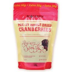 BIOGREEN PAC-37 WHOLE DRIED CRANBERRIES 170G