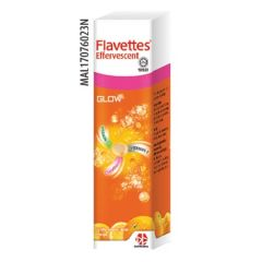 FLAVETTES GLOW VITAMIN C + E + GLUTATHIONE ORANGE EFFERVESCENT TABLET 15S