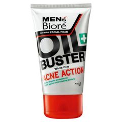BIORE MENS FACIAL FOAM OIL BUSTER WHITE CLAY ACNE ACTION 100G