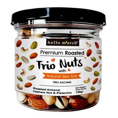 HELLO MARCH PREMIUM ROASTED TRIO NUTS WITH NATURAL SEA SALT (ROASTED ALMOND, CASHEW NUTS & PISTACHIO) 150G