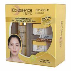 BIO-ESSENCE BIO-GOLD 24K GOLD DAY CREAM SPF25 15G + NIGHT CREAM 15G + GOLD WATER 30ML + CLEANSER 30G
