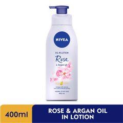 NIVEA BODY OIL IN LOTION ROSE & ARGAN OIL 400ML