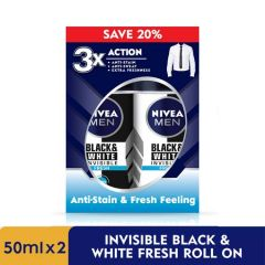 NIVEA FOR MEN DEODORANT BLACK & WHITE INVISIBLE FRESH + ANTIBACTERIAL 48 HOURS ROLL ON 50ML X 2