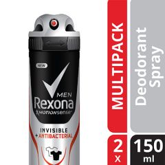 REXONA MEN DEODORANT MOTIONSENSE INVISIBLE + ANTIBACTERIAL ALL IN ONE SPRAY 150ML X 2