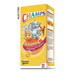 CHAMPS VITAMIN C 250MG PLUS ZINC EFFERVESCENT TABLET 30S