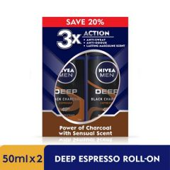 NIVEA FOR MEN DEODORANT ROLL ON DEEP BLACK CHARCOAL ESPRESSO 50ML X 2