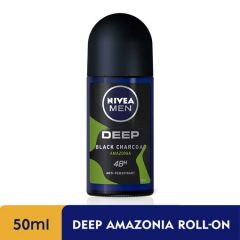 NIVEA FOR MEN DEODORANT ROLL ON DEEP BLACK CHARCOAL AMAZONIA 50ML