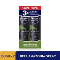 NIVEA FOR MEN DEODORANT SPRAY DEEP BLACK CHARCOAL AMAZONIA 150ML X 2
