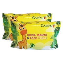 CARING HAND MOUTH & FACE WIPES 30S X 2