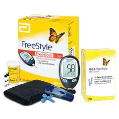 ABBOTT FREESTYLE FREEDOM LITE BLOOD GLUCOSE METER SYSTEM KIT + STRIP 10S + LANCET 100S