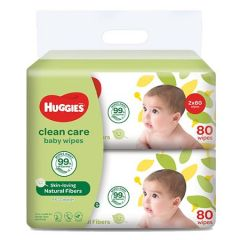 HUGGIES CLEAN CARE BABY WIPES 80S X 2