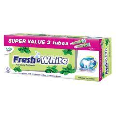 FRESH & WHITE NATURAL FRESH MINT TOOTHPASTE 225G X2