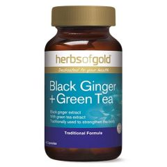 HERBS OF GOLD BLACK GINGER + GREEN TEA CAPSULE 60S