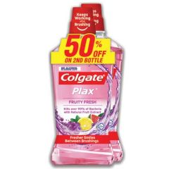 COLGATE PLAX FRUITY FRESH NO ALCOHOL MOUTHWASH 750ML X 2