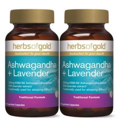 HERBS OF GOLD ASHWAGANDHA + LAVENDER VEGETABLE CAPSULE 60S X 2