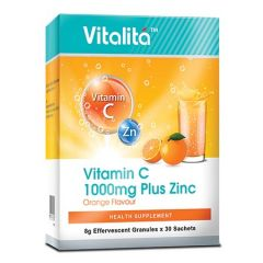 VITALITA VITAMIN C 1000MG PLUS ZINC ORANGE FLAVOUR EFFERVESCENT GRANULE SACHET 8G X 30S